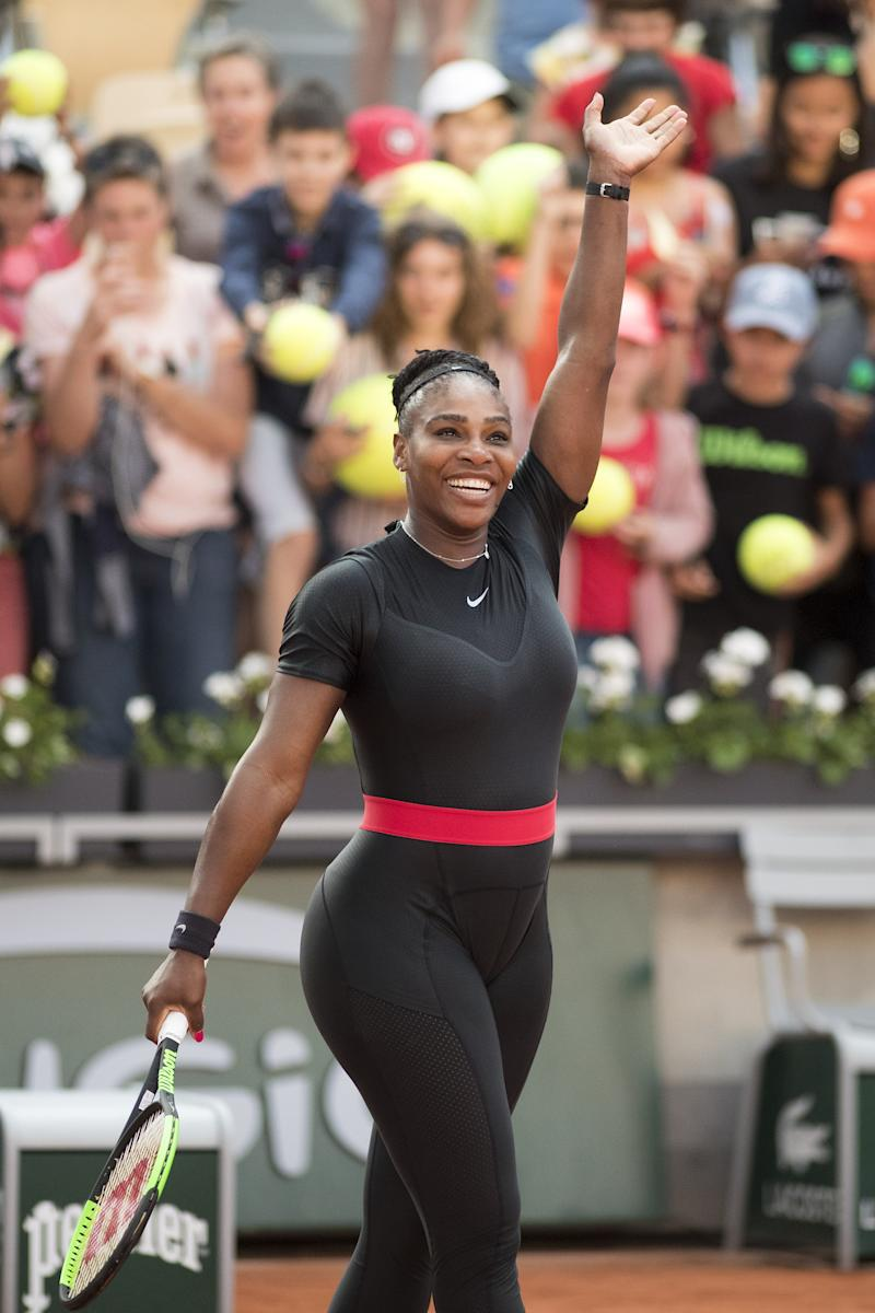 PARIS, FRANCE June 2. French Open Tennis Tournament - Day Seven. Serena Williams of the United States celebrates her win against Julia Goerges of Germany on Court Suzanne Lenglen in the Women's Singles Competition at the 2018 French Open Tennis Tournament at Roland Garros on June 2nd 2018 in Paris, France. (Photo by Tim Clayton/Corbis via Getty Images)