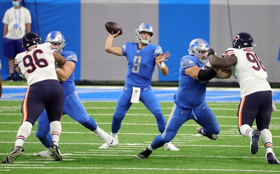 Lions quarterback Matthew Stafford passes against the Bears during the first half at Ford Field on Sunday, Sept. 13, 2020.
