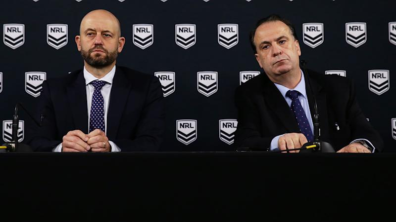 Todd Greenberg and Peter V'landys, pictured here addressing the media about the coronavirus crisis.