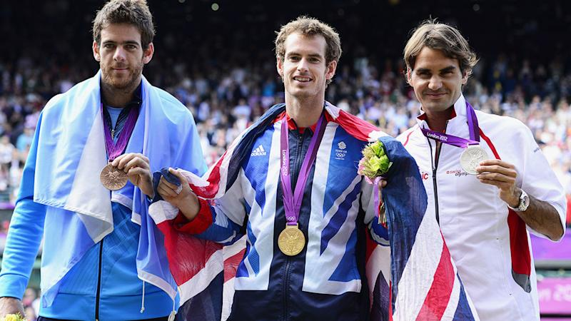 Pictured on the right, Roger Federer with his silver medal at the London 2012 Olympic Games.