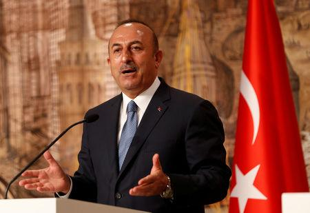 Turkish Foreign Minister Cavusoglu speaks during a news conference in Istanbul