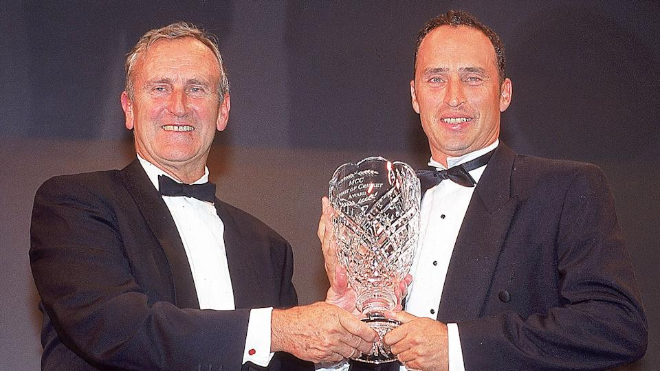 Seen here, Ted Dexter with Nasser Hussain here at a 2000 awards night.