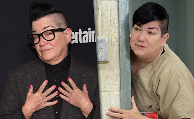 "<p>We love tough chick Big Boo, whether she's busting a move, proving she's really a big softie, or being the best BFF ever to Pennsatucky. But both Boo and DeLaria look younger than DeLaria's — 55 — especially when the comedienne/actress/jazz <a href=""http://www.delariadammit.com/index-3.html"" rel=""nofollow noopener"" target=""_blank"" data-ylk=""slk:musician"" class=""link rapid-noclick-resp"">musician</a> is dressed up in her suit and tie.<br><br>(Photo: Getty Images/Netflix) </p>"