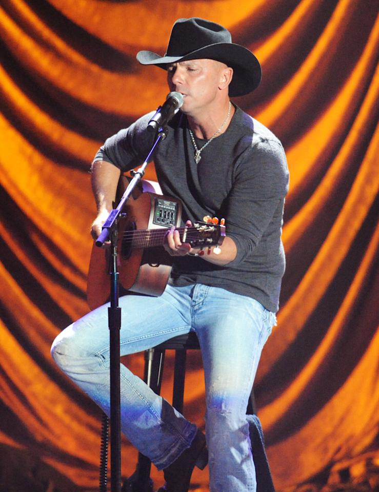 """Kenny Chesney performs at the """"A Decade of Difference"""" concert on October 15, 2011, at the Hollywood Bowl, Los Angeles. <br><br>(Photo by Stephanie Cabral/Yahoo!)"""