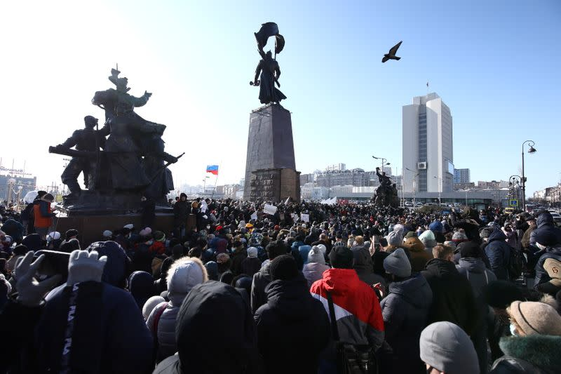 A rally in support of jailed Russian opposition leader Alexei Navalny in Vladivostok