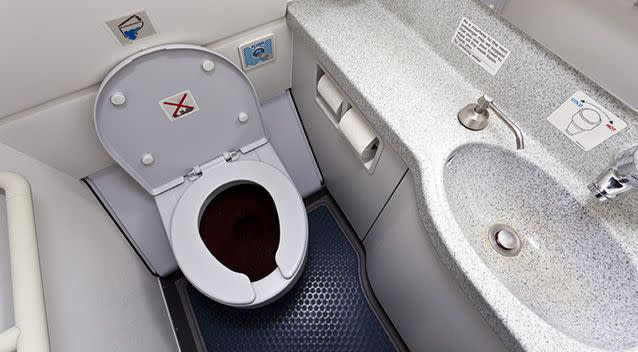 Unsurprisingly, the germiest place on the plane was in the bathroom. Source: Getty