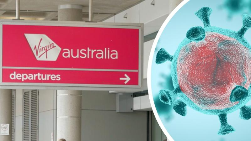 Pictured: Virgin Australia departures sign, coronavirus cell. Images: Getty