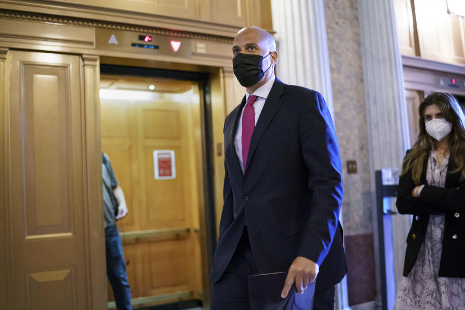 Sen. Cory Booker, D-N.J., arrives at the Senate chamber at the Capitol in Washington, Wednesday, Sept. 22, 2021, after bipartisan congressional talks on overhauling policing practices ended without an agreement. (AP Photo/J. Scott Applewhite)