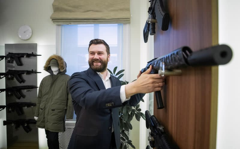 Kalashnikov CEO Dmitry Tarasov gives an interview in Moscow