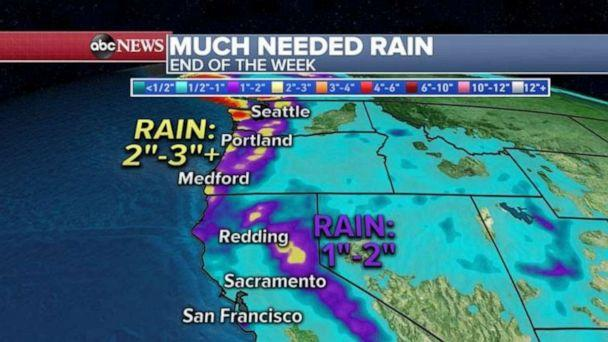 PHOTO: In addition to the cooler air mass, rain is forecast for the West, including northern California, Oregon and Washington, with some areas in Nothern Californa could get 1 to 2 inches of much needed rainfall. (ABC News)