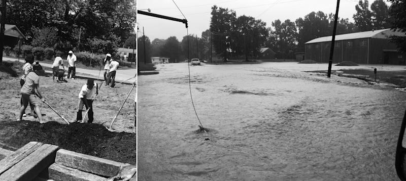Right: A street in the town looked like after a storm before it had an updated drainage system. Left: Kids in Creek Rangers helping to build a green space where flooding once was. (Photo: Courtesy Romona Williams)