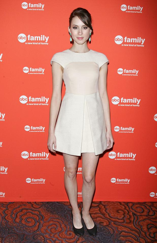 """Troian Bellisario (""""<a href=""""http://tv.yahoo.com/pretty-little-liars/show/39256"""">Pretty Little Liar</a><a>s</a>"""") attends ABC Family's 2012 Upfront Presentation at the Mandarin Oriental Hotel on March 19, 2012 in New York City."""