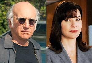 Larry David, Julianna Margulies | Photo Credits: John P. Johnson/HBO, Jeffrey Neira/CBS
