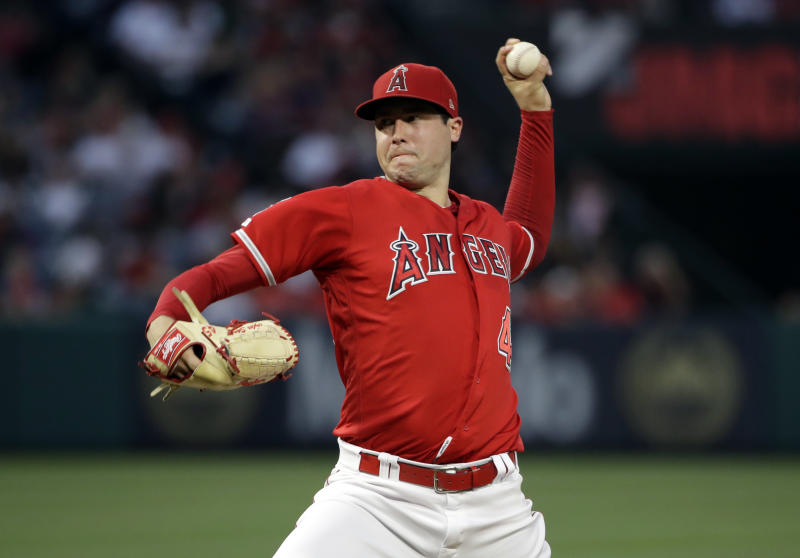 Los Angeles Angels starting pitcher Tyler Skaggs throws to the Oakland Athletics during a baseball game Saturday, June 29, 2019, in Anaheim, Calif. (AP Photo/Marcio Jose Sanchez)