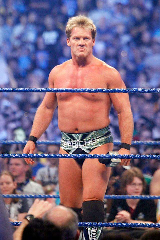 "Former five-time World Heavyweight Champion Chris Jericho heckled his arch nemesis, Mickey Rourke, who was sitting ringside, after defeating Roddy Piper, Ricky ""The Dragon"" Steamboat, and Jimmy Snuka in a handicap elimination bout. F. Carter Smith/<a href=""http://www.splashnewsonline.com"" target=""new"">Splash News</a> - April 5, 2009"