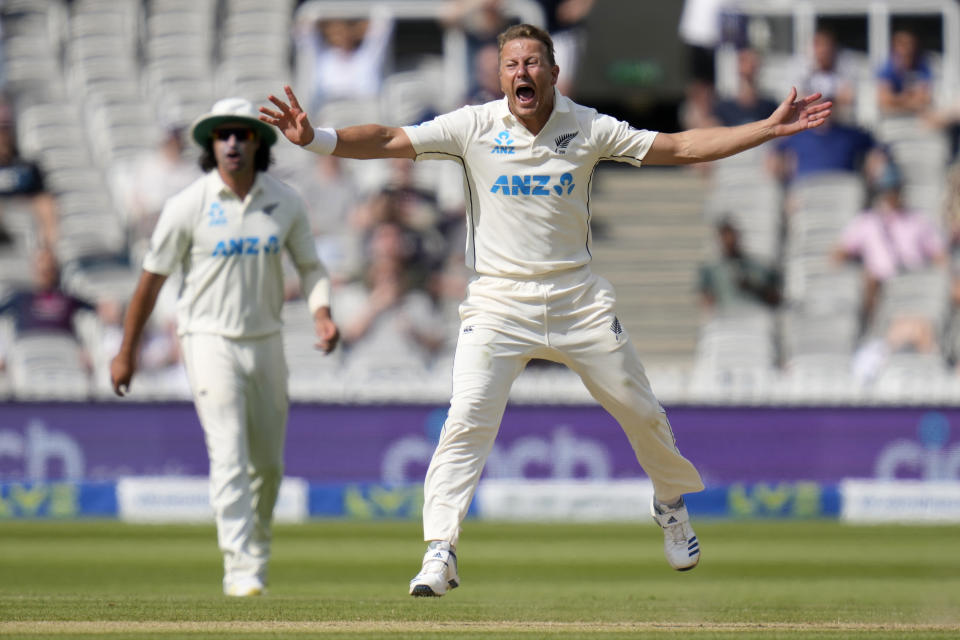 New Zealand's Neil Wagner appeals during the fifth day of the Test match between England and New Zealand at Lord's cricket ground in London, Sunday, June 6, 2021. (AP Photo/Kirsty Wigglesworth)