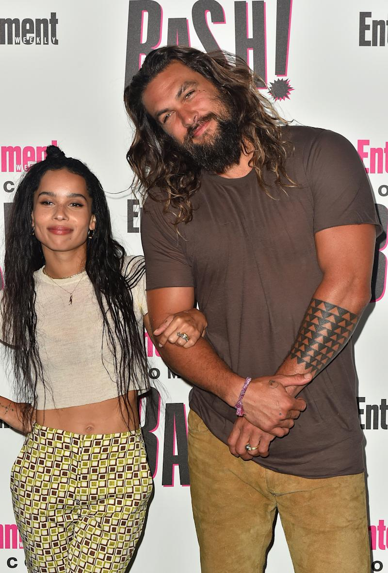 Aquaman Jason Momoa Congratulates Step Daughter Zoe Kravitz