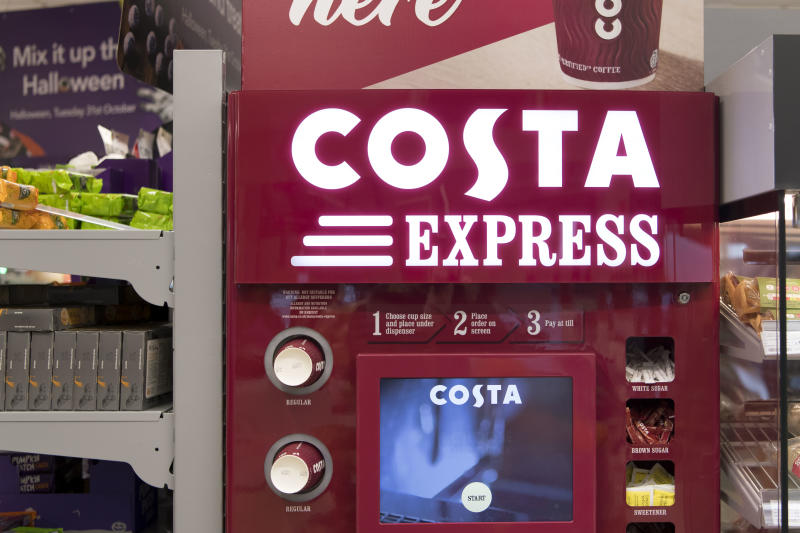 CARDIFF, UNITED KINGDOM - OCTOBER 13: A general view of a Costa Coffee Express machine in a shop on October 13, 2017 in Cardiff, United Kingdom. Costa Coffee owner Whitbread, which also owns the Premier Inn hotels business, has agreed to sell Britain's biggest coffee chain to Coca-Cola in a £3.9bn deal. (Photo by Matthew Horwood/Getty Images)