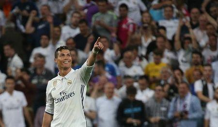 Real Madrid's Cristiano Ronaldo celebrates scoring a goal