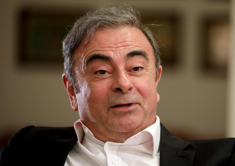 FILE PHOTO: Former Nissan chairman Carlos Ghosn talks during an interview with Reuters in Beirut