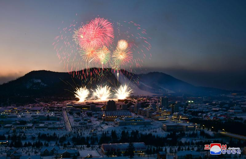 Fireworks explode above during a ceremony celebrating the completion of township of Samjiyon County, North Korea, in this undated picture released by North Korea's Central News Agency (KCNA) on December 2, 2019. KCNA via REUTERS – THIS IMAGE WAS PROVIDED BY A THIRD PARTY. REUTERS IS UNABLE TO INDEPENDENTLY VERIFY THIS IMAGE.