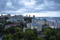 Buildings line the Amur River in Khabarovsk, Russia, in the country's Far East. Parliamentary and local elections that conclude on Sunday, Sept. 19, 2011, will be closely watched to gauge how much anger against the Kremlin remains in the region, where its popular governor was arrested and replaced last year, causing mass protests. (AP Photo/Daniel Kozin)