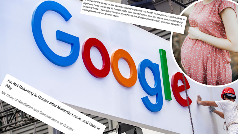 Pictured: Google logo, pregnant woman and viral memo. Images: Getty, Motherboard