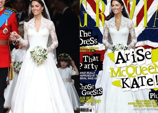 "<div class=""caption-credit""> Photo by: AP and Grazia</div><div class=""caption-title""></div><b>Kate Middleton</b> <br> While we recall the Duchess of Cambridge looking slim on her wedding day, we knew her photo on the May 9th 2011 cover of Grazia looked off. When you compare it with the original, unretouched photo it's obvious they whittled down Middleton's waist and created a fake arm to hold her bouquet. In the end, Grazia confirmed the allegations."