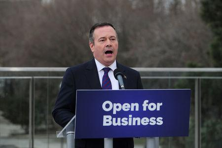 FILE PHOTO: Alberta's premier-designate Jason Kenney speaks to the media in Edmonton