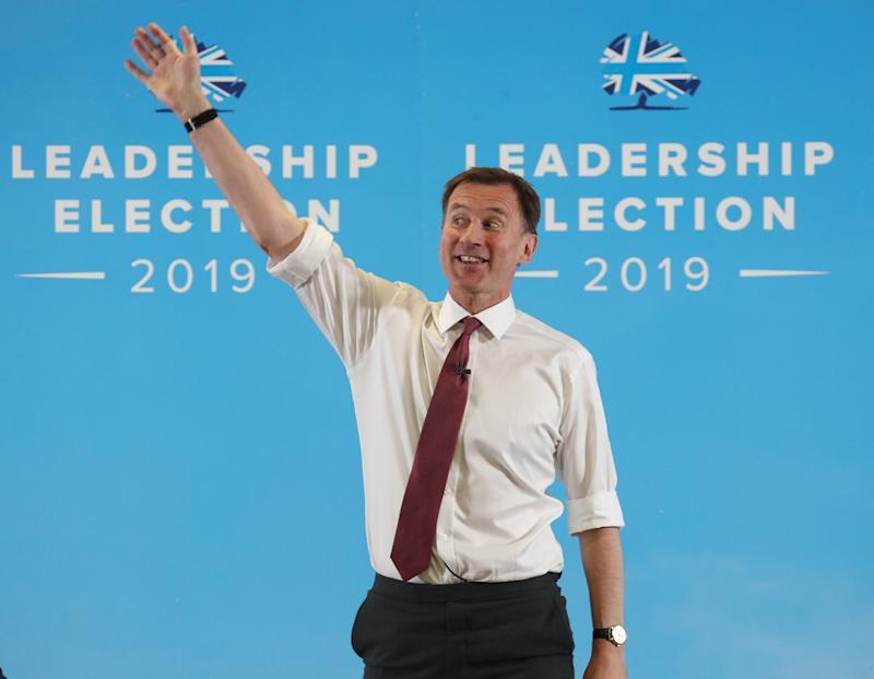 Conservative party leadership contender Jeremy Hunt speaking in Exeter during a Tory leadership hustings.