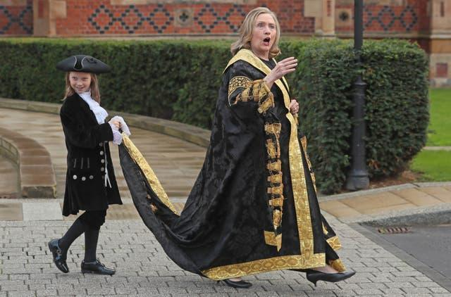 The former US secretary of state Hillary Clinton is installed as the chancellor of Queen's University during a ceremony at the Belfast academic institution (Brian Lawless/PA)