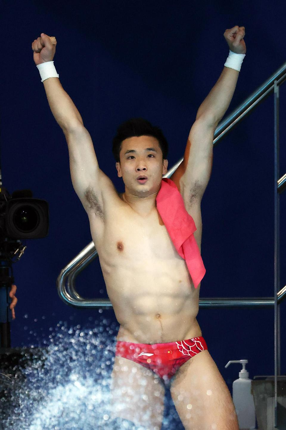 <p>Yuan Cao of Team China reacts after winning the gold medal in the Men's 10m Platform Final. </p>