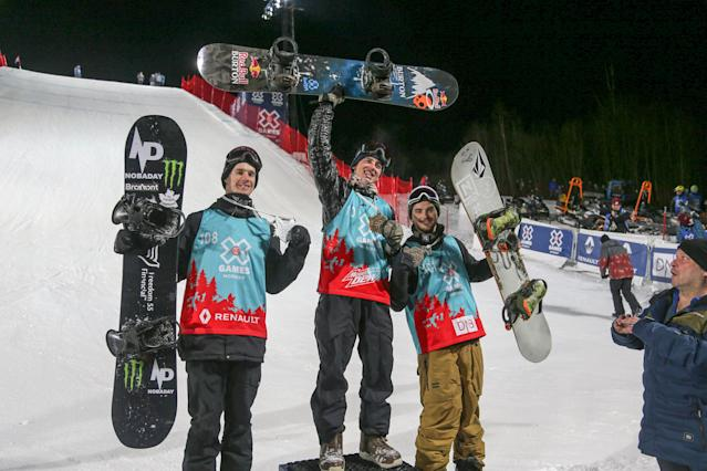 X Games Men's Big Air Snowboard finals - Hafjell, Norway - 11/03/17 - Gold medalist Mark McMorris from Canada (center) silver medalist Max Parrot from Canada (left) and bronze medalist Torgeir Bergrem from USA.NTB Scanpix/Geir Olsen/via REUTERS ATTENTION EDITORS - THIS IMAGE WAS PROVIDED BY A THIRD PARTY. FOR EDITORIAL USE ONLY. NORWAY OUT. NO COMMERCIAL OR EDITORIAL SALES IN NORWAY. NO COMMERCIAL SALES.