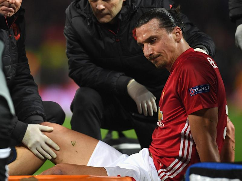 Zlatan Ibrahimovic was forced off with a knee injury late in the game: Getty