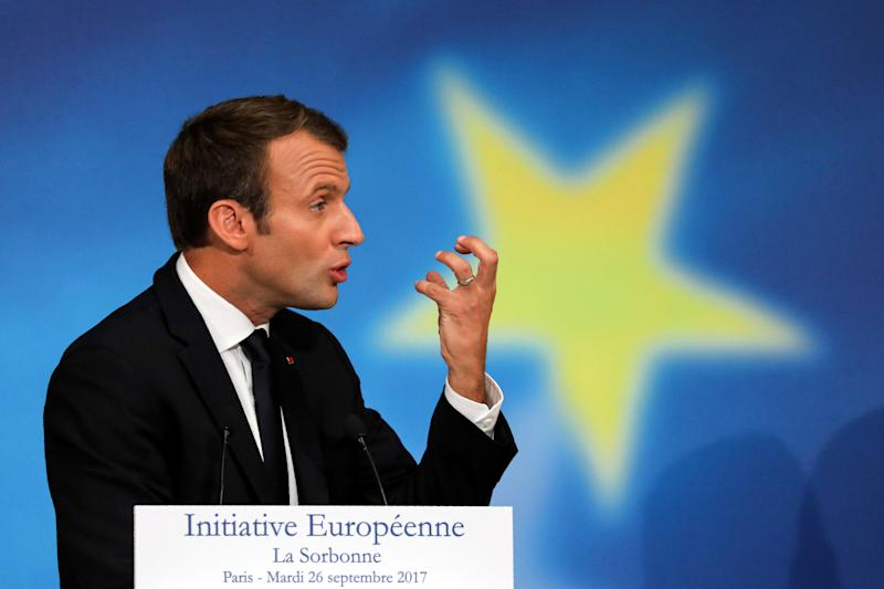 French President Emmanuel Macron delivers a speech to set out plans for reforming the European Union at the Sorbonne in Paris