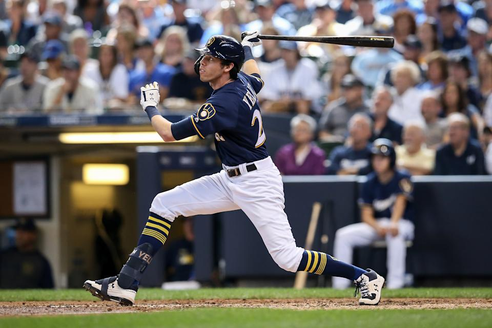 MILWAUKEE, WISCONSIN - AUGUST 14:  Christian Yelich #22 of the Milwaukee Brewers lines out in the fourth inning against the Minnesota Twins at Miller Park on August 14, 2019 in Milwaukee, Wisconsin. (Photo by Dylan Buell/Getty Images)