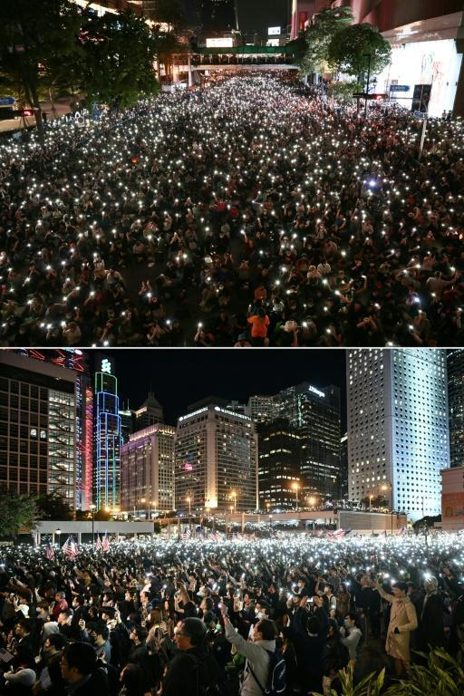 Protesters use thier phones as flashlights in Bangkok (top) with Hong Kong protesters doing the same there in 2019