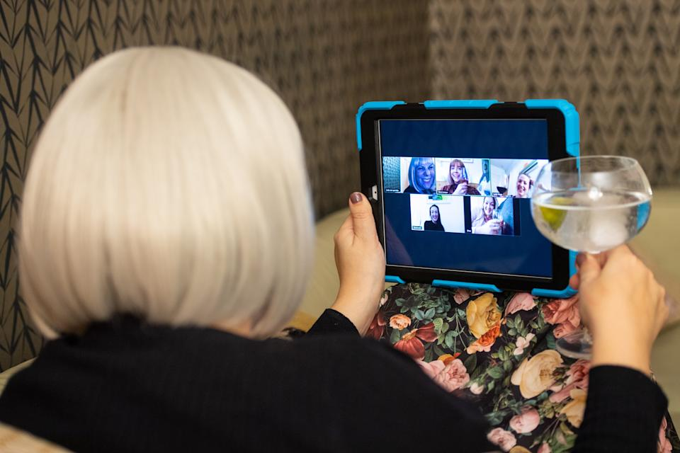 A group of women use the Zoom video conferencing application to have a group chat from their separate homes, during the UK coronavirus lockdown. (Photo by Dominic Lipinski/PA Images via Getty Images)