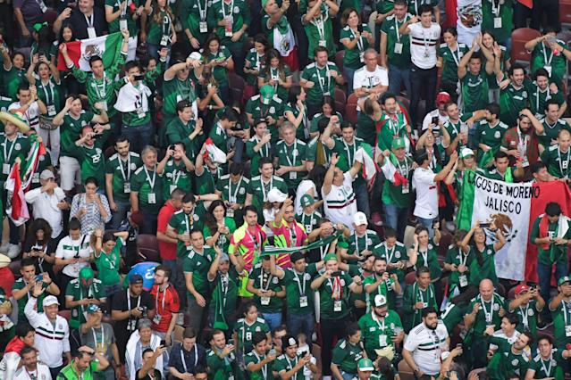 Mexico fans during Sunday's 2018 World Cup win over Germany. (Getty)