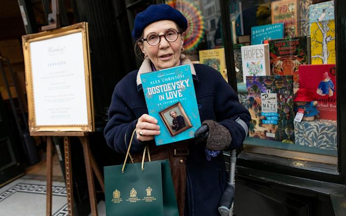 'I don't have any access to the Internet, so I rely on bookshops': Patricia Falconer, 75, was one of the first customers of the day - Rii Schroer