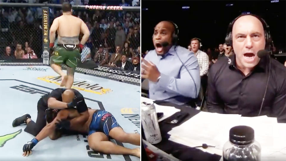Tai Tuivasa, pictured here after KO'ing Greg Hardy in 67 seconds at UFC 264.