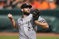 Chicago White Sox starting pitcher Lucas Giolito throws a pitch to the Baltimore Orioles during the second inning of a baseball game, Saturday, July 10, 2021, in Baltimore. (AP Photo/Julio Cortez)