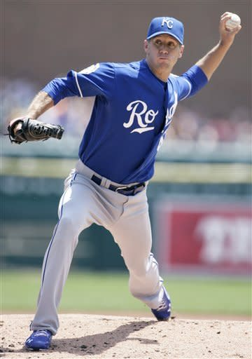Kansas City Royals starter Everett Teaford pitches against the Detroit Tigers in the first inning of a baseball game Sunday, July 8, 2012, in Detroit. (AP Photo/Duane Burleson)
