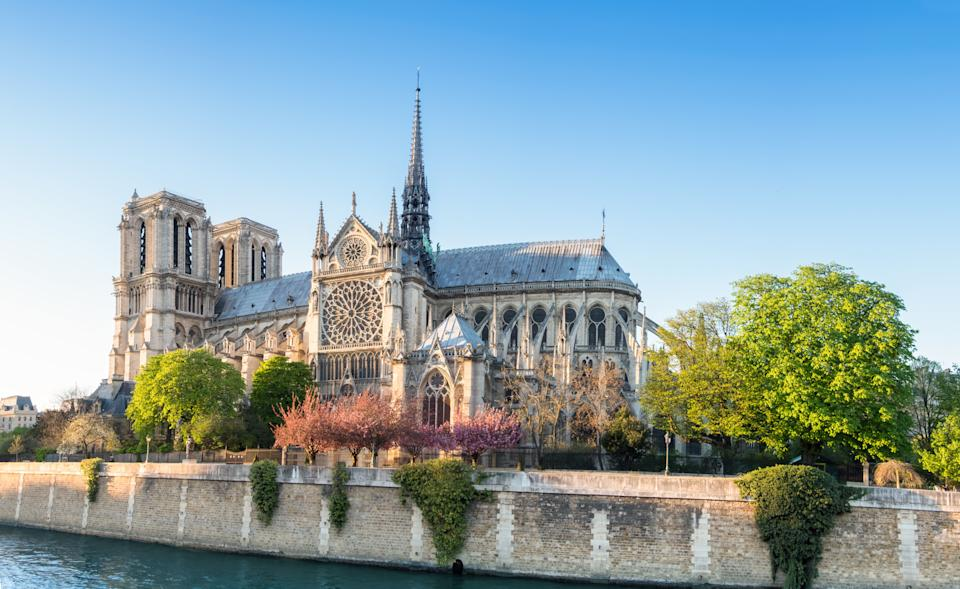 Notre Dame Cathedral in Paris on a bright afternoon in Spring, panorama image