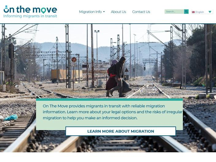 The On The Move website was set up by the Home Office but does not disclose its affiliation (screengrab)