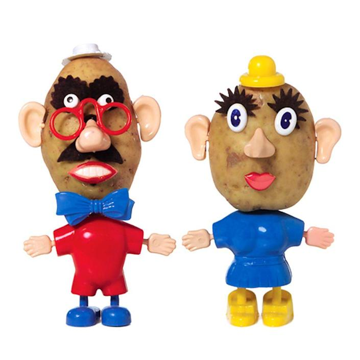 """<p><a class=""""link rapid-noclick-resp"""" href=""""https://www.amazon.com/Mr-Potato-Head-27657-Playskool/dp/B005KJE9L2?tag=syn-yahoo-20&ascsubtag=%5Bartid%7C10063.g.34738490%5Bsrc%7Cyahoo-us"""" rel=""""nofollow noopener"""" target=""""_blank"""" data-ylk=""""slk:BUY NOW"""">BUY NOW</a><br></p><p>Mr. Potato Head was the first toy to ever be advertised on television. The original toy only included the body parts that came with pushpin ends to stick into a real potato. </p><p>After complaints from customers about their potatoes rotting over time, Hasbro began including the plastic potato body in 1964. The toy received its biggest recognition from the character by the same name in the <em>Toy Story</em> franchise.</p>"""