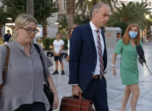 Harry Maguire's lawyer Alexis Anagnostakis leaves the court after Tuesday's verdict