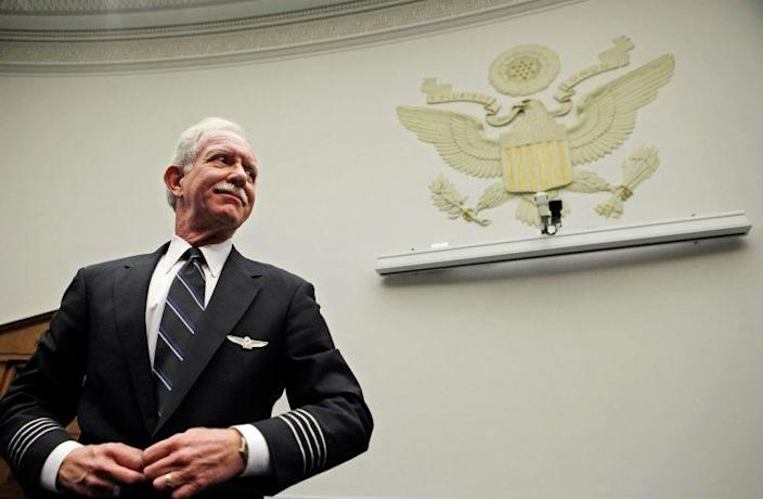 """U.S. Airways Capt. Chesley """"Sully"""" Sullenberger III prepares to testify before the House Judiciary Committee's Commercial and Administrative Law Subcommittee on Capitol Hill December 16, 2009 in Washington, DC. Representing the U.S. Airline Pilots Association (USAPA), Sullenberger testified about the vulnerability of employees, including pilots, when airlines declare bankruptcy. (Photo: Chip Somodevilla/Getty Images)"""