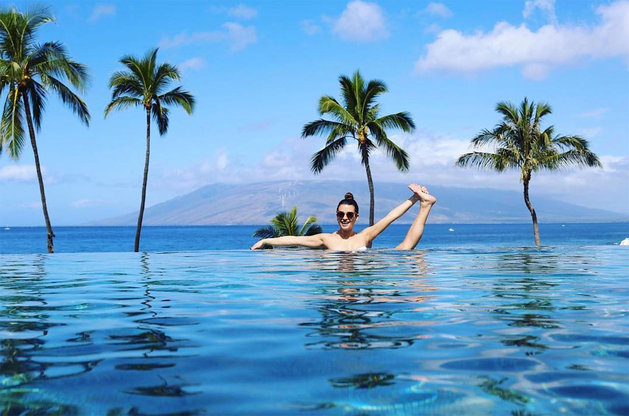 "<p>Most celebs are perfectly content with taking a quick dip in the pool, but <a rel=""nofollow"" href=""https://www.instagram.com/p/BQyhqydhY8_/?taken-by=leamichele&hl=en"">Lea Michele is not like most celebs</a>. The <i>Scream Queens</i> actress one-ups her fellow A-listers with a killer stretch that also tests her balance.</p>"