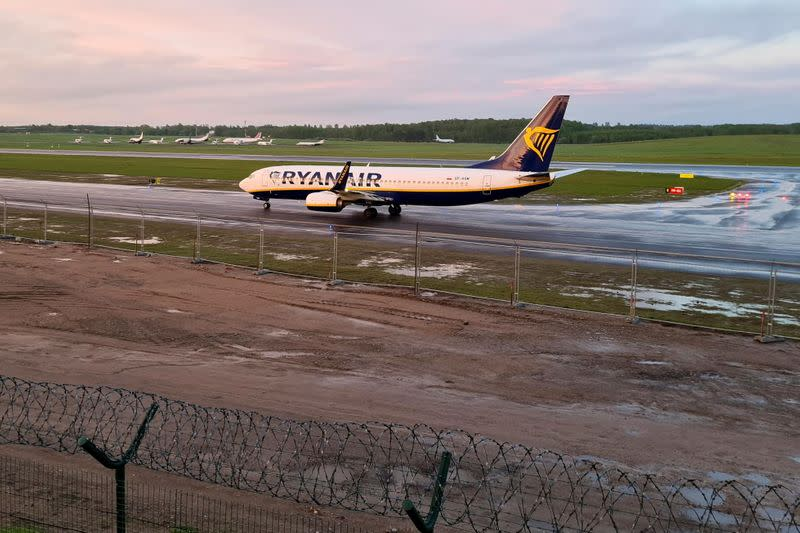 FILE PHOTO: A Ryanair aircraft, which was diverted to Belarus, lands at Vilnius Airport in Vilnius
